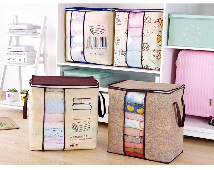 2018 new Non-woven Portable Clothes Storage Bag Organizer 45.5*51*29cm Folding Closet Organizer For Pillow Quilt Blanket Bedding 13