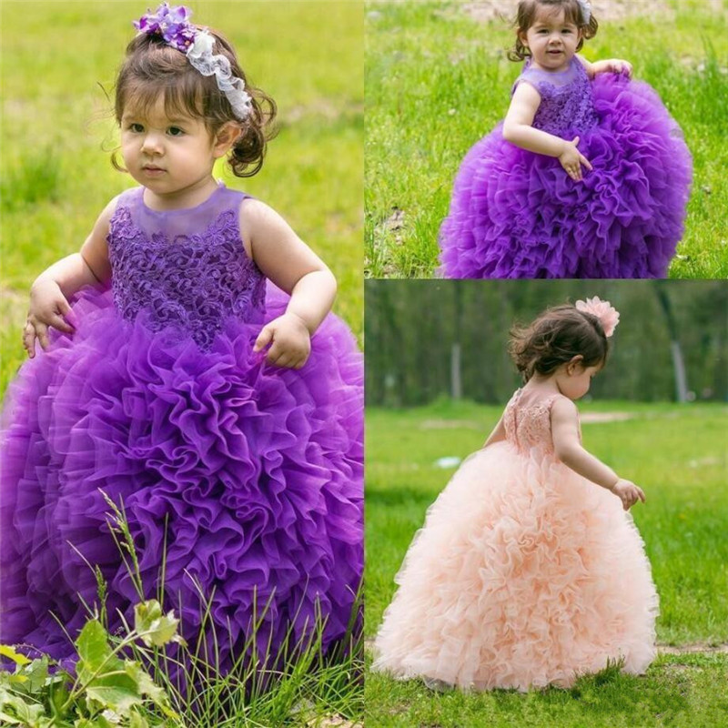 2019 New Cute   Flower     Girl     Dress   For Wedding Ruffles Princess   Dress   Customized Pageant Gowns Lace Top Puffy Baby Birthday Gowns