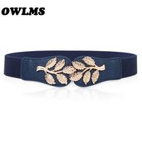 Free Shipping golden leaves buckle gold elastic waist seal Korean fashion decorative   belt   women female wild strape   cummerbund