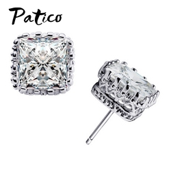PATICO New Arrival 925 Sterling Silver Stud Earrings With 6MM Square Cubic Zirconia Ear Brincos Free Shipping For Women's Gift