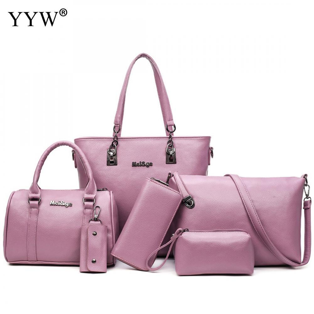 5pcs/Set Women Bags Large Capacity Pu Leather Shoulder <font><b>Handbag</b></font> Bag Birthday Gift Black <font><b>Gray</b></font> White Bags For Women 2018 New Bolsos