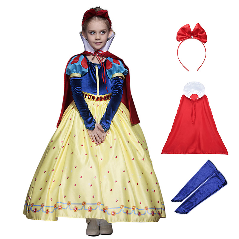 Girls Snow White Dress with Cloak Headband Deluxe Velvet Brocade Kids Chirstmas Party Cosplay Princess CostumeGirls Snow White Dress with Cloak Headband Deluxe Velvet Brocade Kids Chirstmas Party Cosplay Princess Costume
