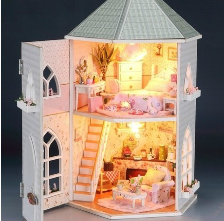 Buy 2016 wooden cabin educational diy house doll toy love castle with - Pictures of house wooden furnitures ...