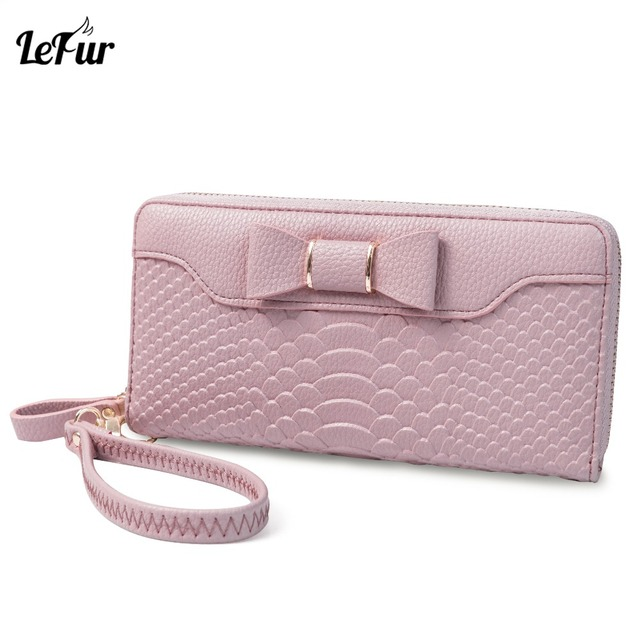 7530c06a5d4c LEFUR Women Long Wallets PU Leather Female Coin Purse Holder Women Bags  Wallets For Teenage Girls Bowknot Ladies Zipper Wallet