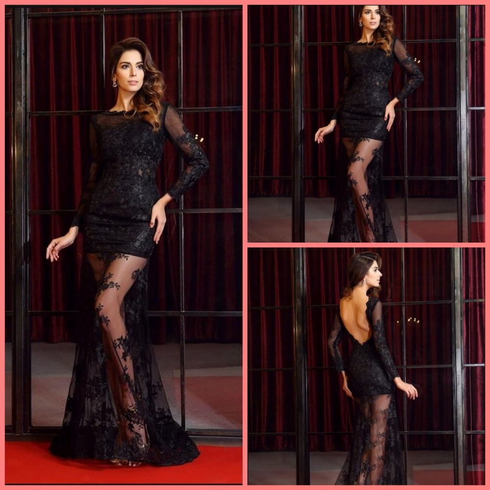 2016 stylish black lace long sleeve backless sexy evening dress formal floor length cheap evening gowns best selling