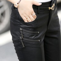 Spring Autumn Casual Leather Pants Lady Hot Slim PU Leather Stylish Zipper Fashion Pencil Skinny Trousers For Woman With Belt