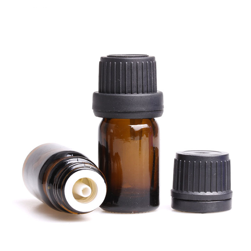 50pcs Mini 5ml/10ml Amber Glass Dripper Bottles Empty Sample Vials For Essential Oils Aromatherapy Crafts Travel Storage Bottle