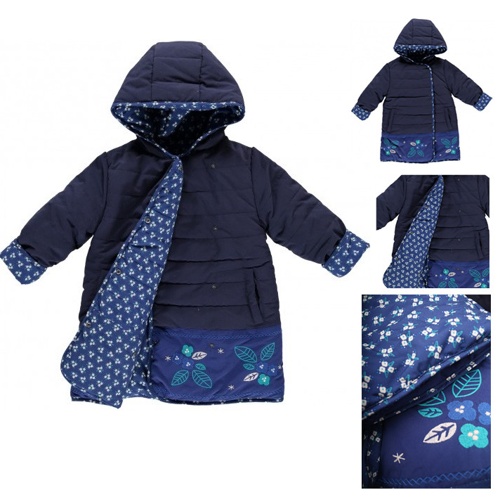 Winter Temperament National Wind Embroidery Small Floral Double sided Cotton Padded Jacket