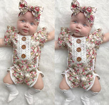 Girl Floral Romper & Headband