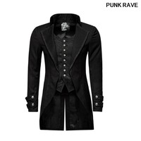 Gothic Embroidery Buttoned Dovetail Party Long Jacket Vintage Victorian Fake Two Pieces Brocade Men Coats PUNK RAVE Y 750