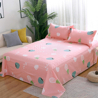 Fashion cartoon style pink bed sheet pillowcase 100%cottone Fruit pineapple 3pcs bedding set twin full queen king size adult/kid
