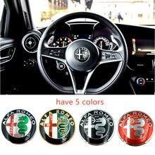 1 Uds 40MM dirección distintivo para el volante emblema adhesivo Auto accesorios enemigo ALFA ROMEO Brera 147, 156, 166, 159 GT araña Giulietta Stelvio