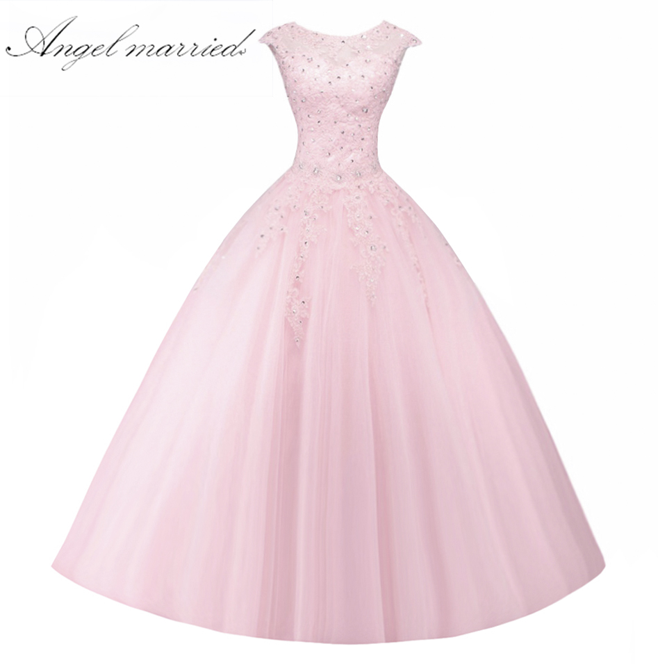 Ange marié rose Quinceanera robes De bal sans manches à lacets doux 16 robe Vestido De 15 Anos De Debutante - 4