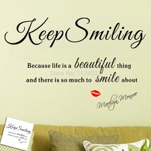 Free shipping Marilyn Monroe quote Keep Smiling Wall Stickers home decor art decals decoration removable