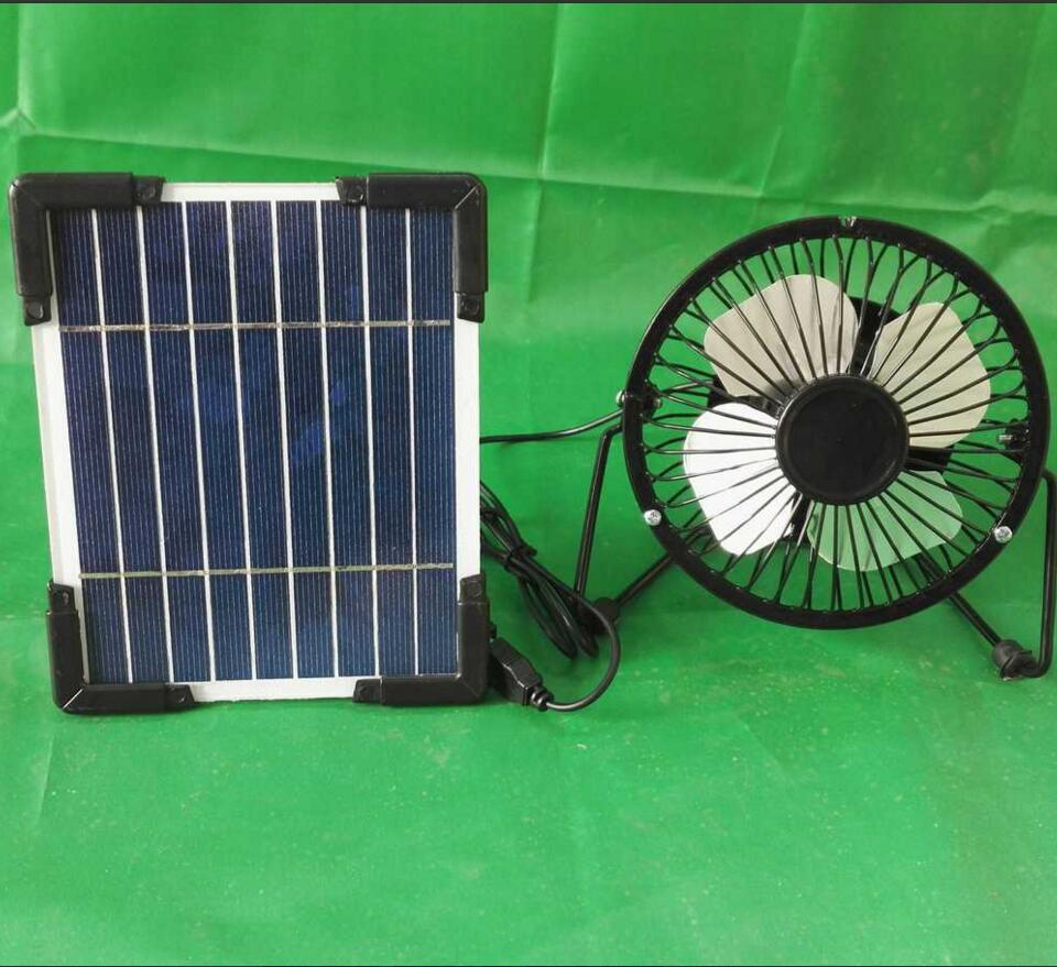 Solar Cell and 4 inches Iron USB Fan Set with Solar Panel Stand 5V 2.5W Solar Cell Solar Panel 140x170mm