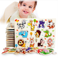 AJP 22 5cm 30cm Wooden Animals Cartoon Learning Educational Toys Kids Jigsaw Puzzles Toy Children Baby