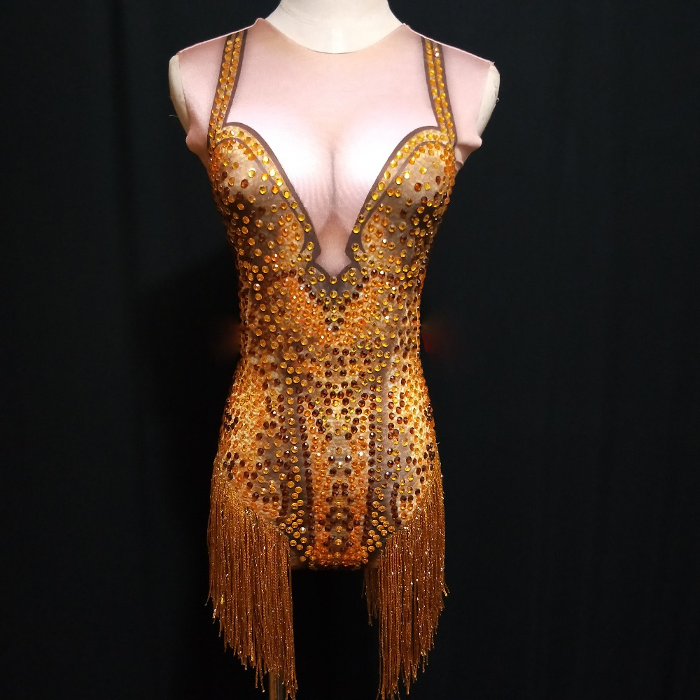 Golden Rhinestone Bodysuit Nightclub Female Singer DJ DS Costume Dance Star Evening Sexy Performance Bodysuit Outfit DJ204