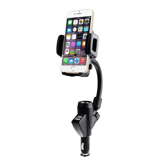 Profissional ajustável suporte do telefone móvel para o carro-adaptador de carregador de isqueiro do carro com usb para iphone 6 6 s 7 plus