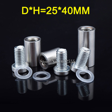 800PCS Stainless Steel Hollow Standoffs Pins 25*40mm Acrylic Advertisement Decoration Fixing Screws Billboard Glass Mirror Nails ned diameter 25mm stainless steel standoffs pin nails screw acrylic advertisement decoration fixing screws billboard glass nail