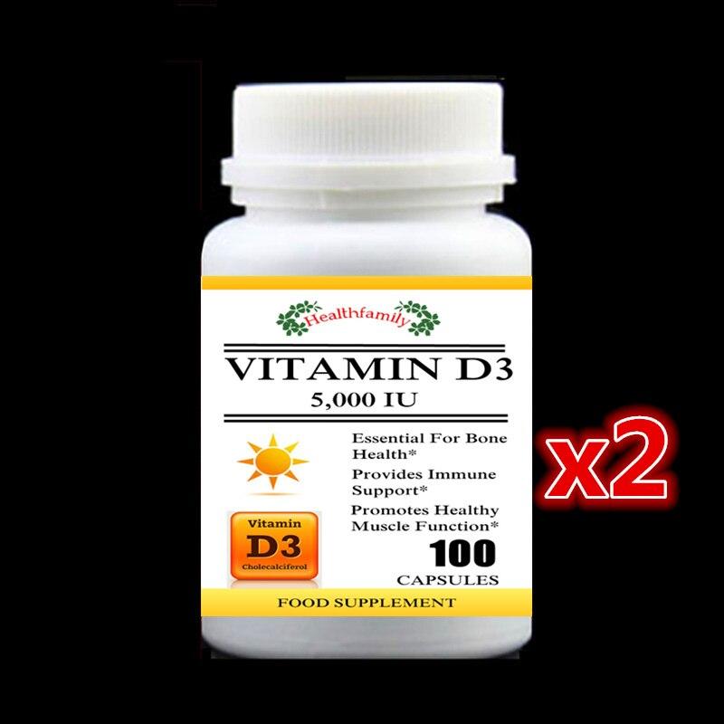 2 botella de 200 piezas 5 000IU vitamina D3 (colecalciferol) Suplemento esencial para el crecimiento del hueso proporcionar apoyo inmune y gowth muscular