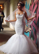 Sexy Tulle Sweetheart Mermaid Lace Appliques Spaghetti Straps Wedding Dress Dubai Arabic Sofuge Gelinlik 2019 Boho
