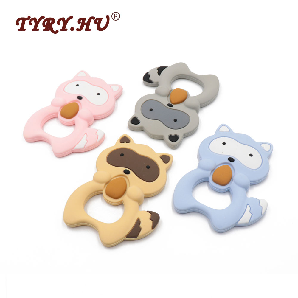 TYRY.HU Silicone Raccoon Teether Squirrel Teething Pendant BPA Free Baby Chew Toy Cartoon Nursing Necklace Pendant 100*75*15mm