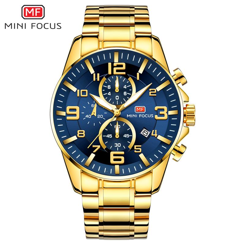 MINI FOCUS Men's Business Quartz Watches Stainless Business Chronograph Watch Gold Blue Relogios Masculino Clock Top Brand 0278G|Quartz Watches| |  - title=