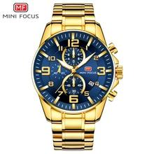 MINI FOCUS Men's Business Quartz Watches Stainless Business Chronograph Watch Gold Blue Relogios Masculino Clock Top Brand 0278G цена