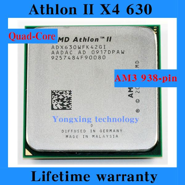 Lifetime warranty Athlon II X4 630 2.8GHz 2M Quad Core desktop processors ADX630 CPU Socket AM3 938 pin Computer