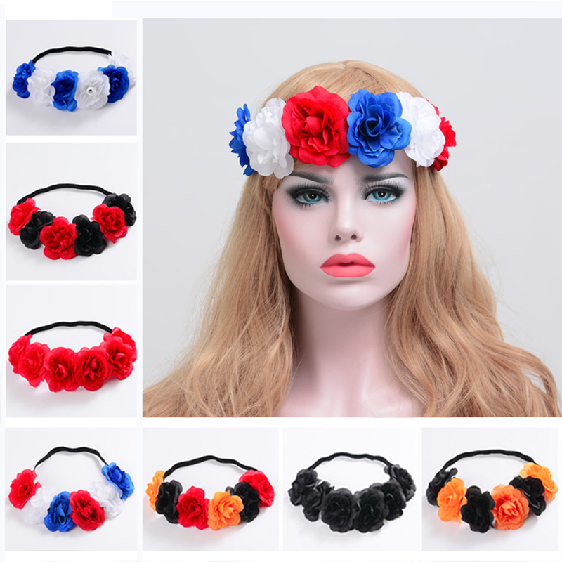 5pcs/lot Woman Wreath Artificial Flowers Garland Hair Accessories Girl Headbands Hairbands Festival Gift Flower Heads Rose