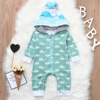 MUQGEW Infant Baby Boys  rompers Long Sleeve Whale Cartoon Print Romper Jumpsuit HoodieClothes children's clothing Baby Rompers