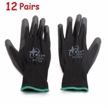 12 пар мужские перчатки 13 калибра нейлоновые нитриловые антистатические перчатки с покрытием ладони рабочие перчатки большого размера черные перчатки рабочие перчатки