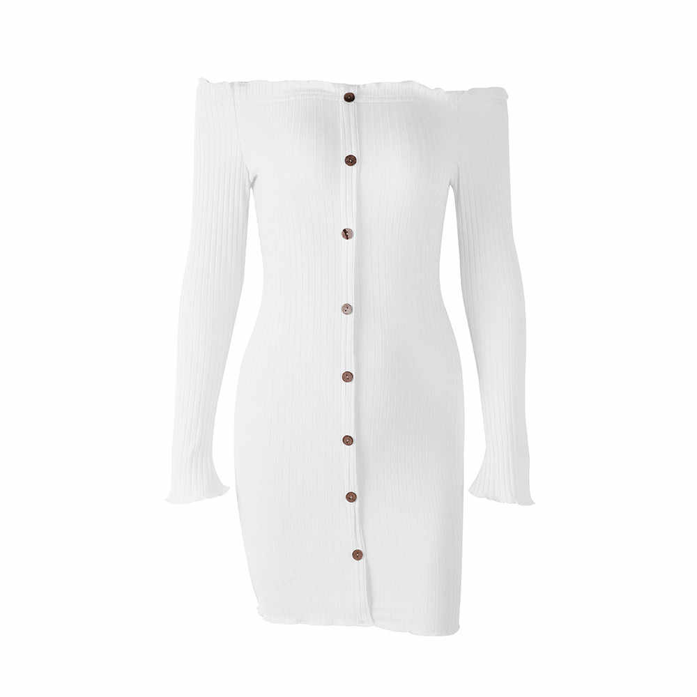 Женское облегающее платье, модное платье с длинным рукавом, с открытыми плечами, однотонное, на пуговицах, с вырезом, повседневные платья, Vestidos de Verao # YL