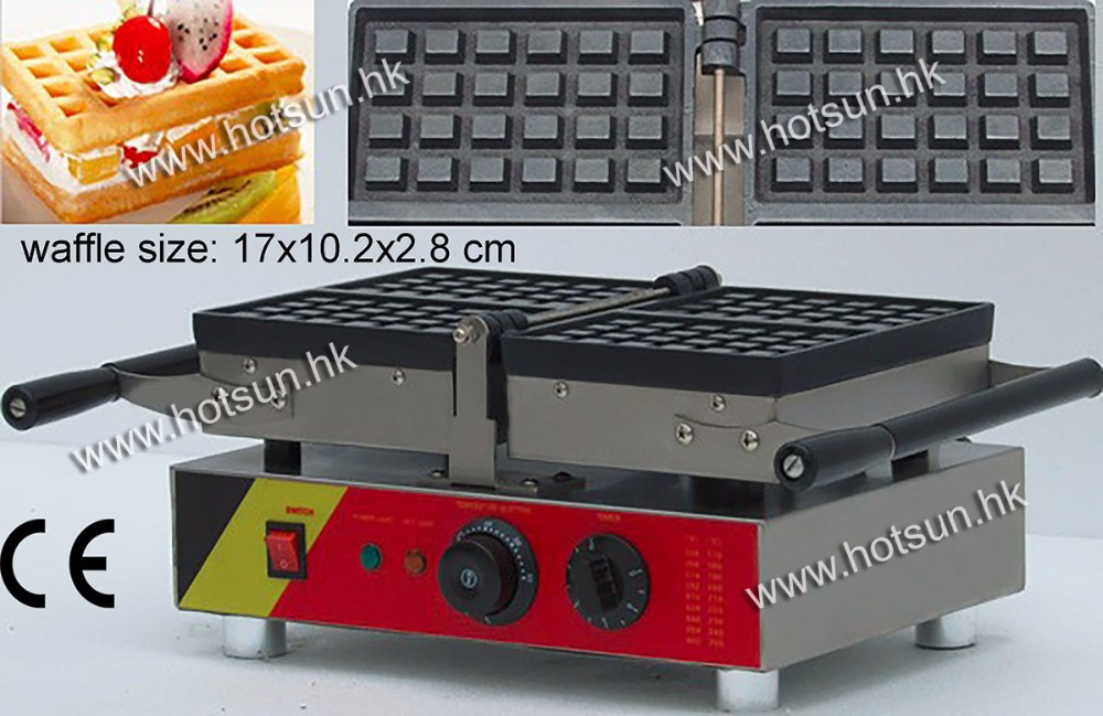 4pcs Commecial Use Non-stick Turnable 110v 220v Electric Belgium Liege Waffle Baker Maker Machine Iron free shipping commercial use non stick 110v 220v electric 8pcs square belgian belgium waffle maker iron machine baker