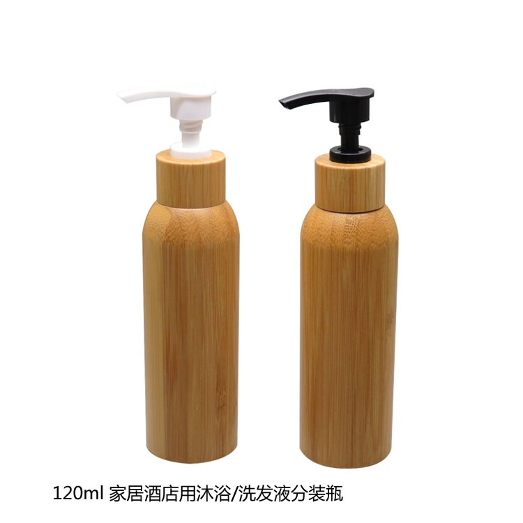 120ML 100pc/lot Bamboo Empty Cosmetic Cream Container/DIY Lotion Pump Bottle Body Cream bottle with bamboo press cover 10 50pcs 18 24r white black clear plastic powder press pump head nozzle for cosmetic lotion emulsion bottle with clear full cap