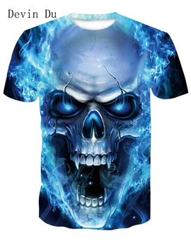 Devin Du New design skull poker print Men short sleeve T shirt 3d t-shirt casual breathable t-shirt plus-size tshirt homme 1