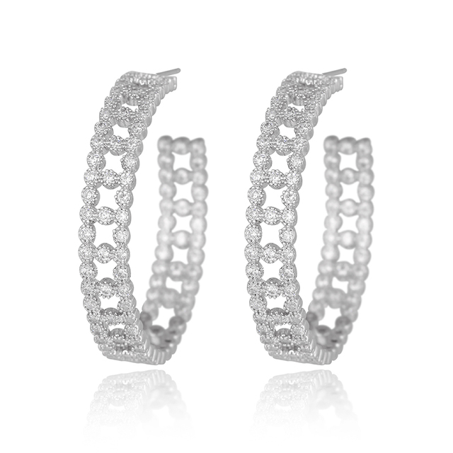 High Quality Ladies Earrings Silver Filigree Round Prong-Set Inside Out Cubic Zirconia Pave C Hoop Earrings