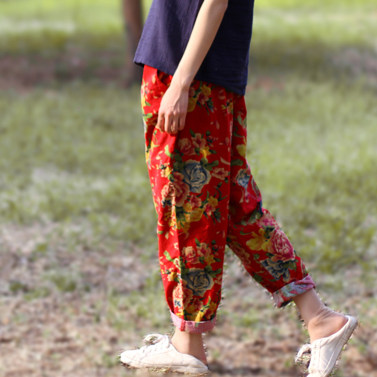 Новинки для женщин летние штаны-шаровары штаны с цветочным принтом Повседневное китайский Национальный хлопковые льняные брюки с рисунком в виде пионов, эластичные Капри по талии
