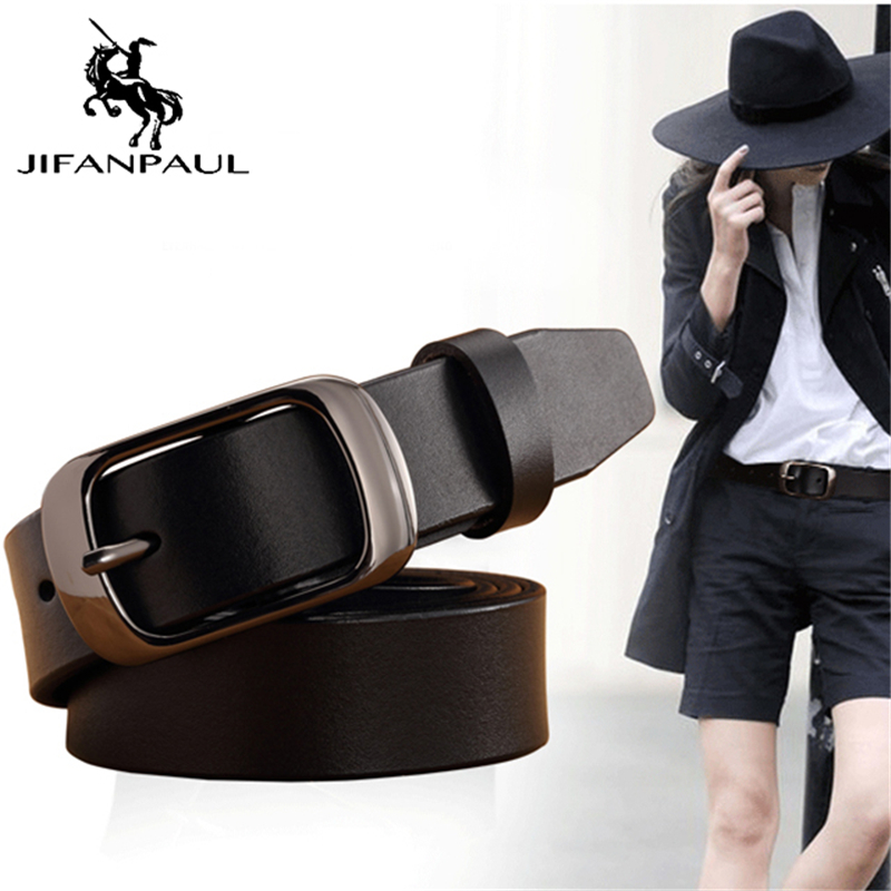 JIFAPAUL Ladies Brand Leather Pure Leather Belt Buckle  Casual Simple Wild Fashion Tide Jeans Corset Female Belt Free Shipping