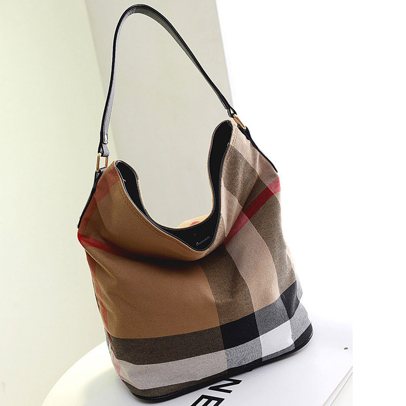Hot Sale Classic Plaid Canvas Women Bags Famous Brand Shoulder Bags Designer Ladies Stripe Handbags Large Bucket Bag Sac Femme hot sale 2016 france popular top handle bags women shoulder bags famous brand new stone handbags champagne silver hobo bag b075