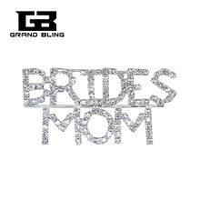 Crystal Wedding Theme Jewelry Gift BRIDES MOM Word Brooch Pin for Brides Relative