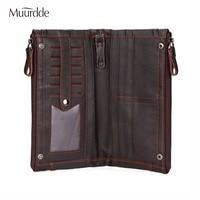 Muurdde Genuine Leather Men Wallet Male Cell Phone Clutch Coin Purse Vintage Walet Long Portomonee PORTFOLIO Clamp For Money Bag