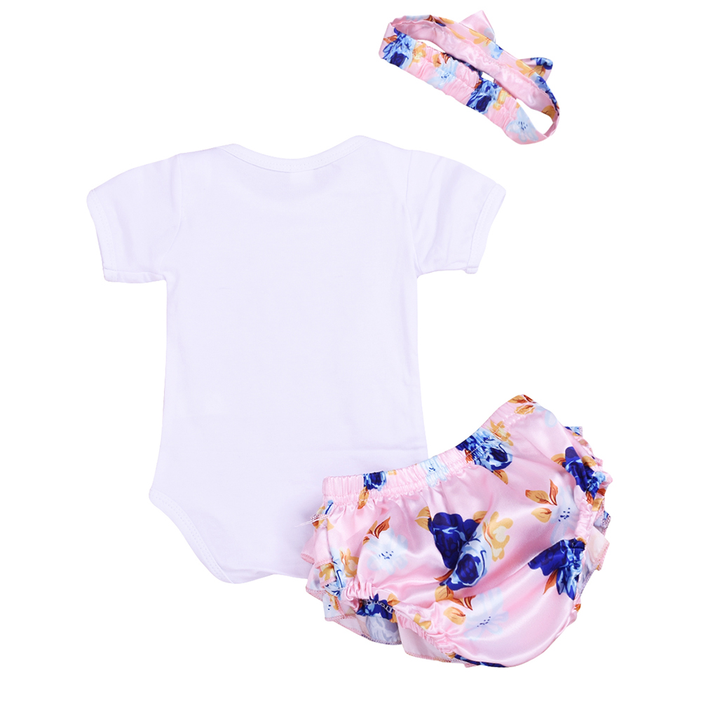Baby girls clothes 3pcs Set Baby Rompers PP Bloomer headband Infant clothing 1st birthday party outfit newborn jumpersuit in Bodysuits from Mother Kids