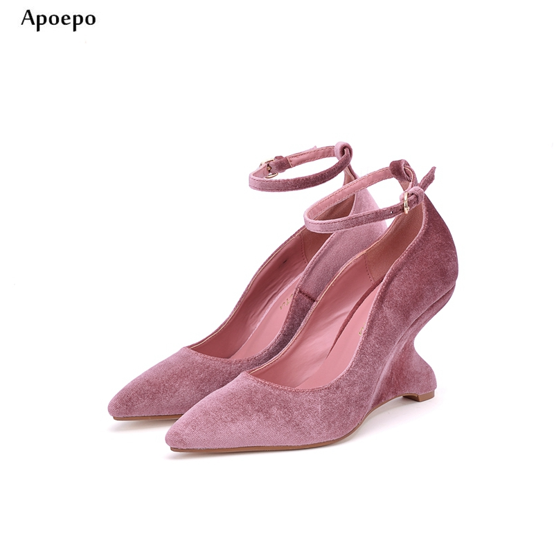 New 2018 Newest Woman Shoes Pointed Toe Ankle Strap Strange Heels Pumps High Quality PU Suede High heel Dress shoes цена