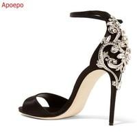 Luxury Black Satin Ankle Strap Sandals Peep Toe Crystal Embellished Heel Sandals Summer Dress Shoes Woman