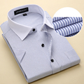2017 New Design Summer Short Sleeve Men Shirts Business Casual Striped Fashion Mens Dress Shirts Plus Size US 6XL 5XL 4XL XXXL