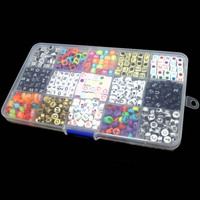 15 Màu Sắc/1100 cái Letter Hạt cho Tùy Chỉnh Tên trên Pacifier Clips Hỗn Hợp Shape DIY Acrylic Alphabet Beads M8694