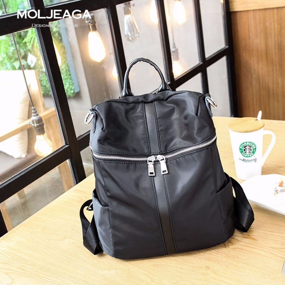 MOLJEAGA 2017 Nylon Bags Knapsack Genuine Leather Women s Backpack Mochila Female Ladies Casual Travel School