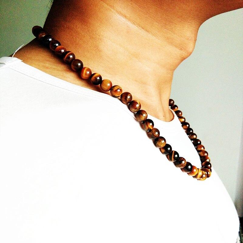 Vintage Trendy Men Jewelry Black Matte Beads Nature Tiger eye Stone Hematite Lava Stone Beads Chain Necklace Men