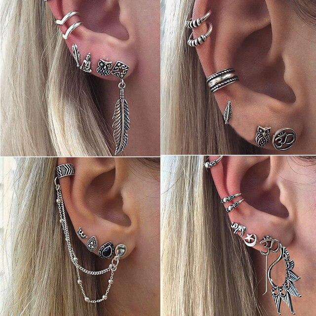 5a786cd16 7Pcs/Lot Boho Style Tibetan Silver Top Tragus Piercings Hoop Helix  Cartilage Tragus Daith Earring Studs Piercing Silver Jewelry